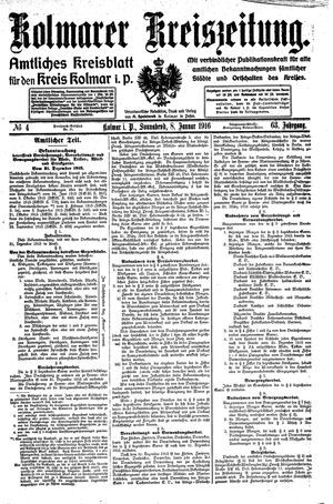 Kolmarer Kreiszeitung vom 08.01.1916