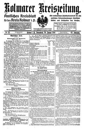 Kolmarer Kreiszeitung on Jan 29, 1916