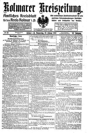 Kolmarer Kreiszeitung vom 10.02.1916