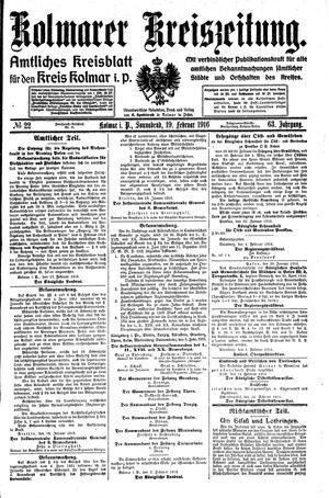 Kolmarer Kreiszeitung vom 19.02.1916