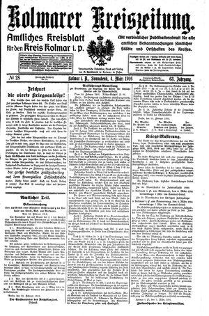Kolmarer Kreiszeitung vom 04.03.1916
