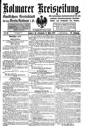 Kolmarer Kreiszeitung vom 11.03.1916