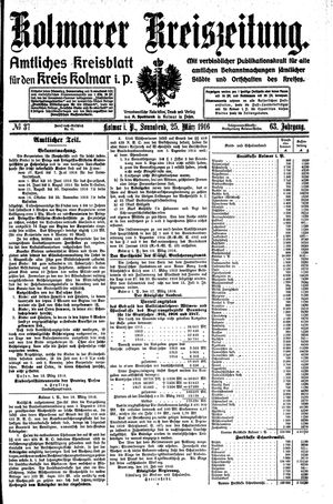 Kolmarer Kreiszeitung on Mar 25, 1916