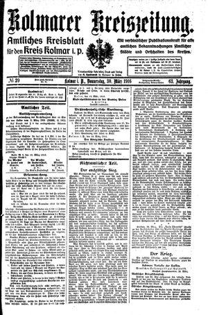 Kolmarer Kreiszeitung vom 30.03.1916