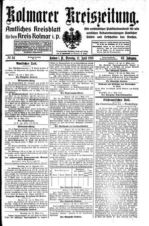 Kolmarer Kreiszeitung vom 11.04.1916
