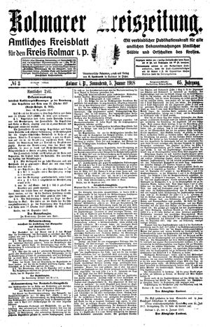 Kolmarer Kreiszeitung vom 05.01.1918