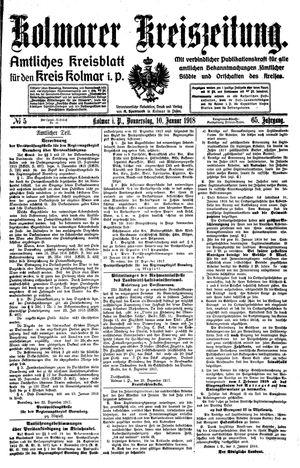 Kolmarer Kreiszeitung vom 10.01.1918