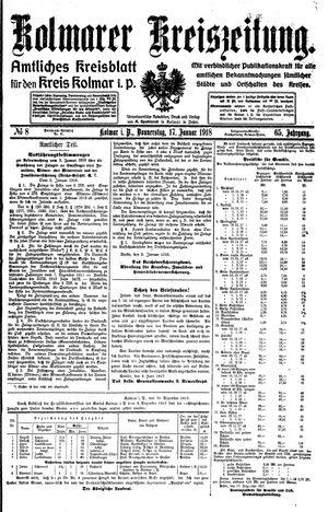 Kolmarer Kreiszeitung vom 17.01.1918