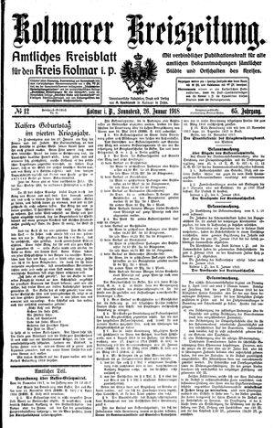 Kolmarer Kreiszeitung vom 26.01.1918