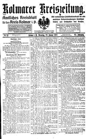 Kolmarer Kreiszeitung vom 29.01.1918