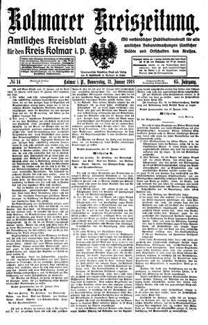Kolmarer Kreiszeitung vom 31.01.1918