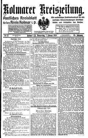 Kolmarer Kreiszeitung vom 07.02.1918