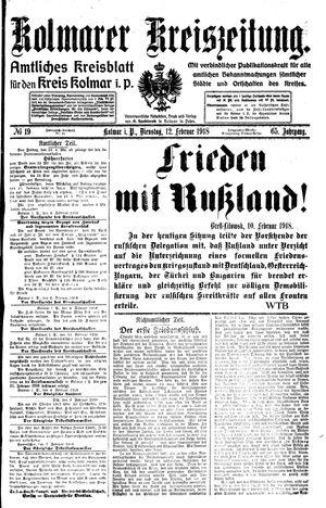 Kolmarer Kreiszeitung vom 12.02.1918
