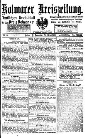 Kolmarer Kreiszeitung vom 28.02.1918