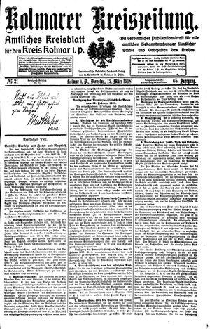 Kolmarer Kreiszeitung vom 12.03.1918