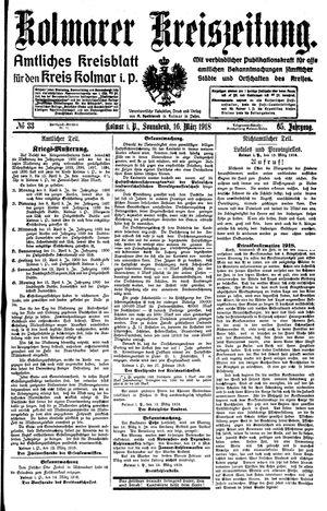 Kolmarer Kreiszeitung vom 16.03.1918