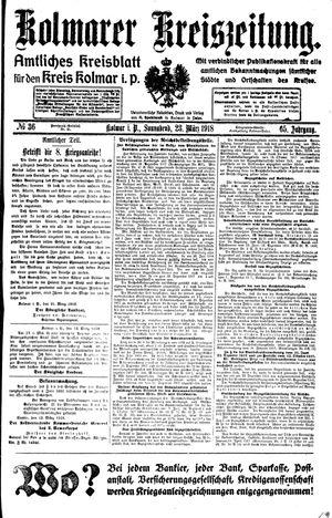 Kolmarer Kreiszeitung vom 23.03.1918