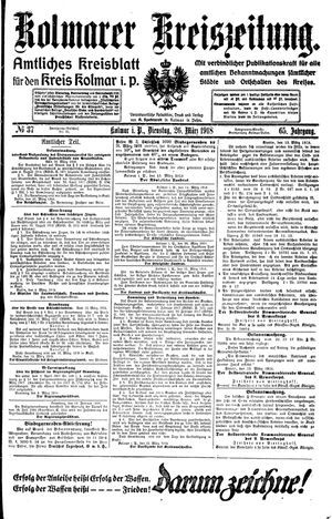 Kolmarer Kreiszeitung vom 26.03.1918