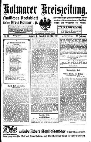 Kolmarer Kreiszeitung vom 30.03.1918