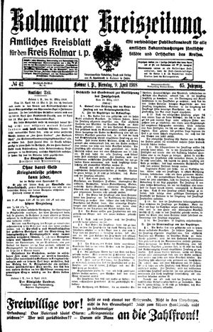 Kolmarer Kreiszeitung vom 09.04.1918