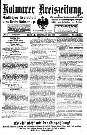 Kolmarer Kreiszeitung vom 11.04.1918