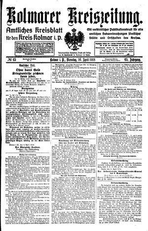 Kolmarer Kreiszeitung vom 16.04.1918