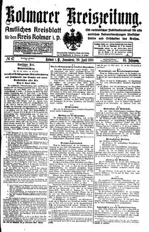 Kolmarer Kreiszeitung vom 20.04.1918