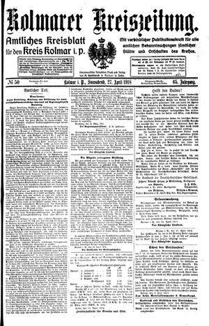 Kolmarer Kreiszeitung on Apr 27, 1918