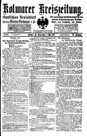 Kolmarer Kreiszeitung vom 02.05.1918