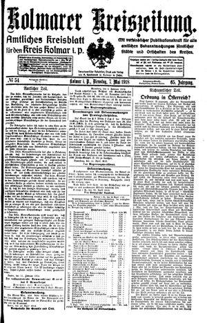 Kolmarer Kreiszeitung on May 7, 1918