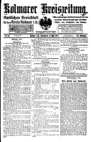 Kolmarer Kreiszeitung vom 11.05.1918