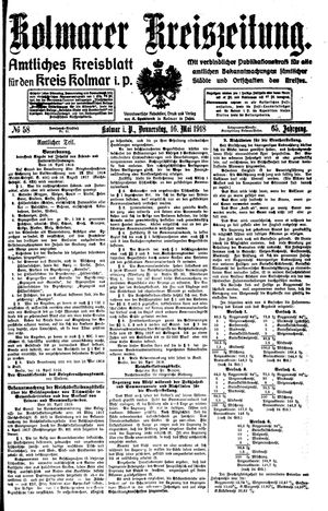 Kolmarer Kreiszeitung on May 16, 1918