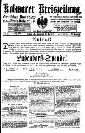 Kolmarer Kreiszeitung vom 25.05.1918