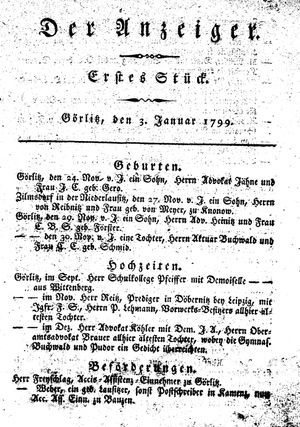 ˜Derœ Anzeiger vom 03.01.1799