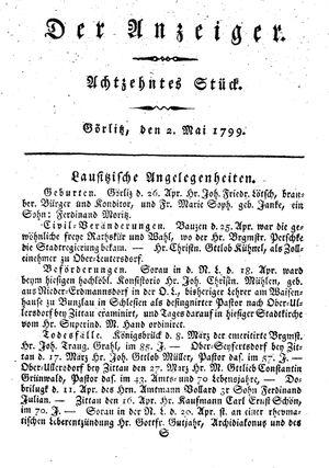 ˜Derœ Anzeiger vom 02.05.1799