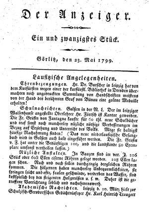 ˜Derœ Anzeiger on May 23, 1799