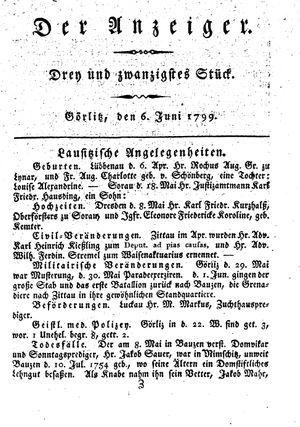 ˜Derœ Anzeiger vom 06.06.1799
