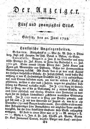 ˜Derœ Anzeiger vom 20.06.1799