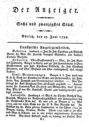 ˜Derœ Anzeiger vom 27.06.1799