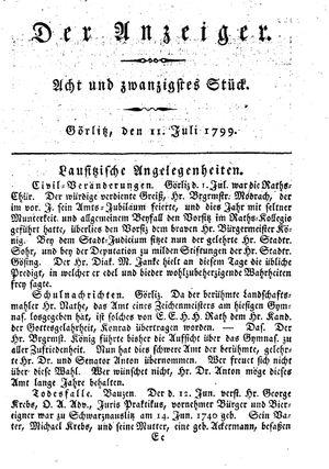 ˜Derœ Anzeiger vom 11.07.1799