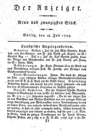 ˜Derœ Anzeiger vom 18.07.1799