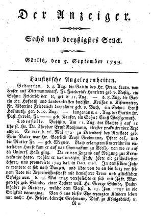 ˜Derœ Anzeiger vom 05.09.1799
