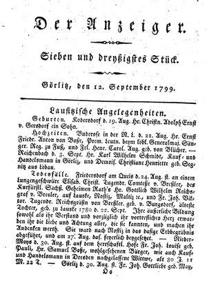 ˜Derœ Anzeiger vom 12.09.1799