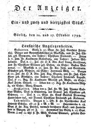 ˜Derœ Anzeiger on Oct 10, 1799