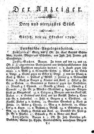 ˜Derœ Anzeiger vom 24.10.1799