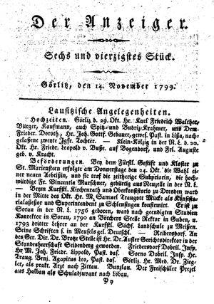 ˜Derœ Anzeiger vom 14.11.1799