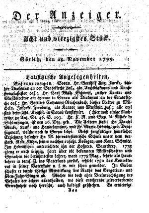 ˜Derœ Anzeiger vom 28.11.1799