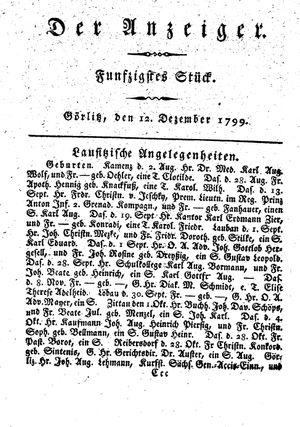 ˜Derœ Anzeiger vom 12.12.1799