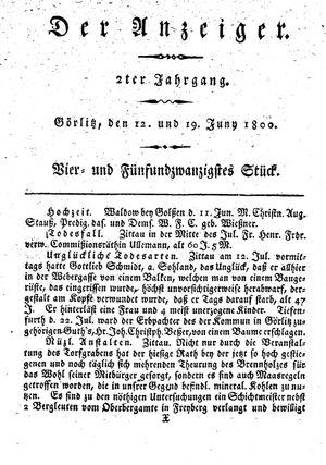 ˜Derœ Anzeiger vom 12.06.1800
