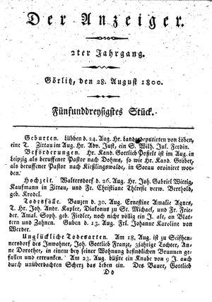 ˜Derœ Anzeiger vom 28.08.1800